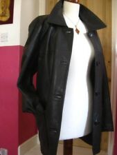 Ladies NEXT brown real leather long JACKET COAT UK 18 16 over great trench mac