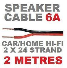 SPEAKER CABLE 2M RED/BLACK 6A AUTO HI-FI CAR AUDIO SPEAKER WIRE 2 METRES