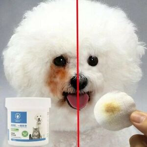 Dog Eye Tear Stain Remover Natural Pet Gentle Clean Wipes Stains New 120pcs