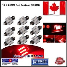 10 X Festoon Xenon RED 31mm LED Dome Light Bulb 12 SMD LED chips Interior 3528