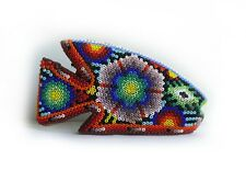 Vintage Wood Beaded Hand Carved Tropical Colorful Fish Figurine