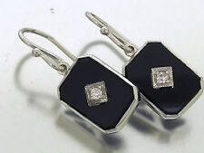 9ct White SOLID Gold Natural Diamond & Onyx Earrings