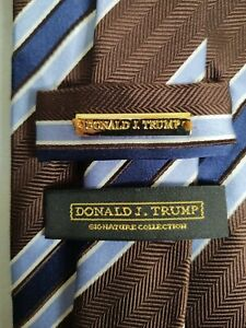 Donald J Trump Signature Collection Tie Purple & Brown Striped 100% Silk Necktie