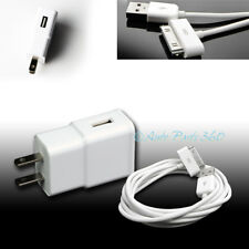 2A TRAVEL ADAPTER+6FT 30PIN USB CABLE WALL CHARGER WHITE IPHONE 4S IPAD 2 3 IPOD