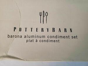 Pottery Barn Barona Aluminum Condiment Set 7 pcs Tray - Bowls - Spoons New