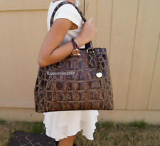 ❤️ NEW Brahmin Joan Tote Espresso Orinoco Genuine Leather Croc Embossed ❤️ SEE