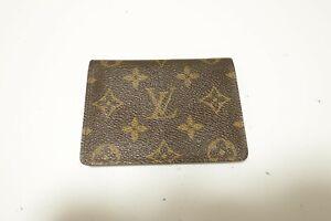 Authentic LOUIS VUITTON Monogram Brown Leather pass card case  #8813