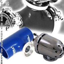 "Turbo Blow Off Valve Jdm Bov Gunmetal 3"" Inch Reinforce Silicone Adapter Blue"