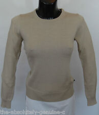 AQUASCUTUM Ladies SOPHIA Crew NECK Merino Wool Jumper Sweater sz XL BEIGE BNWT