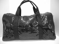 Duffle Bag Sequin Black Bling Handbag Women Girls Gym, Diaper,Sport Travel Cheer