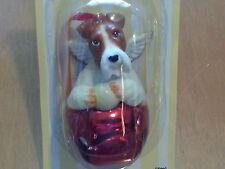 1 Dozen Fox Terrier Dog Figurine Red Brass Bells By Dnc Collectibles 12 Pc Lot