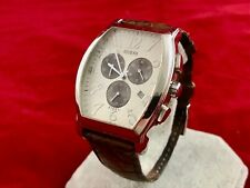 Guess Steel Chronograph Brown Leather Band Mens Watch I11525G2