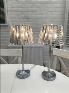 PaIr Of LARGE Laura Ashley Capri Table Lamps Polished Chrome Crystal Glass Shade