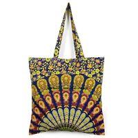 Indien Sac Commerce Équitable Paon Mandala Shopping Coton Boho Cadeau