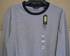 NWT $35 NAUTICA Mens M LONG SLEEVE STRIPED T-SHIRT Navy COTTON V63626