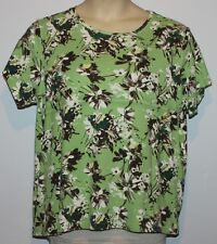 WOMEN'S ST. JOHN'S BAY 1X CLASSIC TEE GREEN FLORAL TOP PULLOVER SHORT SLEEVE