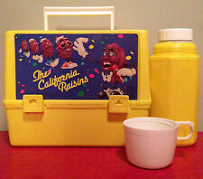 Vtg 1987 THE CALIFORNIA RAISINS Plastic THERMOS LUNCH BOX Thermos Lid Cup EUC OG
