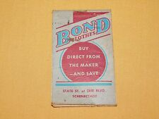 VINTAGE AD WWII 1941 1942 BOND CLOTHES SCHENECTADY NY BLANK PAGES MEMO BOOK