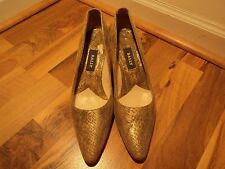 Bally Sparking Champagne Python Kitten Pumps, Size 8.5 Narrow,+ EXTRAS,CELEBRITY