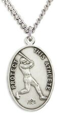 Mens Sterling Silver Oval Saint Sebastian Baseball Medal Necklace 24 Inch Chain