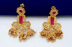 Indian Kundan Pink Color Pearl Jhumka CZ Stone Danglers Jhumki Earrings Bridal
