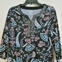 Croft & Barrow Womens Oriental Henley Top Size S NWT