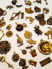 30 Mixed Vintage Bronze Charms Pendants heart Bird Key Steampunk