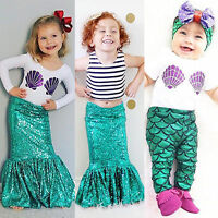 enfants bébé fille costume sirène vêtements haut robe t-shirt pantalon tenues