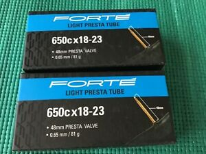26 × 1.1-1.4 Presta Valve Forte Bicycle Inner Tubes. Qty. 4