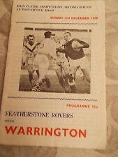 3.12.78 Featherstone Rovers v Warrington programme