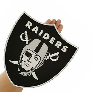"Oakland Raiders Shield Logo Large Size 11.0""x12.0"" Sew Embroidered Iron on Patch"