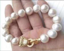 echte huge 10-11mm weiß Süßwasser perle armband leopard kopf verschluss