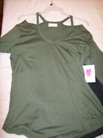 Bobbie Brooks Army Green Tunic Long Sleeves, Woman's Top Med