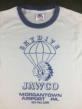 Vintage Mens M 80s Skydive JAWCO Parachute Skydiving Indian White Ringer T-Shirt
