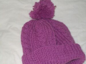 Ladies Hand Knit Pink Aran Cable and Rib Bobble Hat - BNWOT