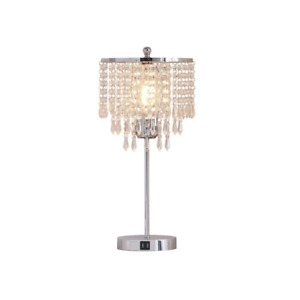 20 In. Chrome LED Crystal Touch Table Lamp with USB Ports