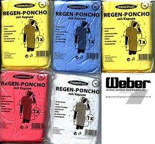 5 Stück Regenponcho Notfallponcho Einweg-Regenjacke Regencape Kapuze  950000344