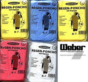 Regenponcho mit Kapuze Notfallponcho Einweg-Regenjacke Regencape 95015001