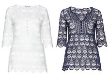 Joe Browns - Damen Shirt Spitze Bluse Tunika Top Oberteil Weiss dunkel Blau NEU