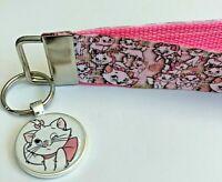 Key Fob Key Chain Holder Wrist Lanyard Strap Disney Aristocats Marie Pink Kitten