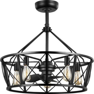 "Outdoor 28"" Ceiling Fan + Remote Patio Cage Chandelier Modern Fandelier Light"