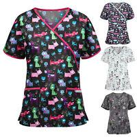 Women Short Sleeve VNeck Nursing Working Uniform Scrubs Cartoon Print Top Blouse