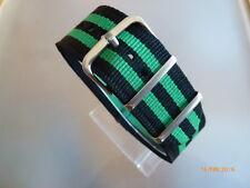 Relojes pulsera nailon 24 mm negro verde otan banda hebilla textil