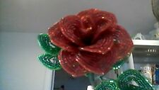 ** French Beaded Flowers ** Handmade Red Rose **