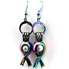 Rainbow Color Ribbon Pearl Cage Earrings Hooks with 8mm Plastic Beads /Z285