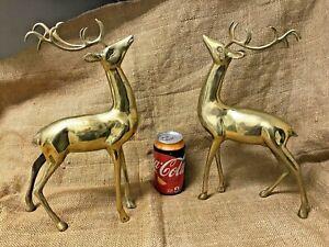 Beautiful pair of Hollywood Regency 13+ inch tall Brass Reindeers, Christmas