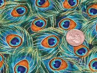Fabric Peacocks Feathers Metallic Full on TIMELESS Cotton by the 1/4 yard 8669