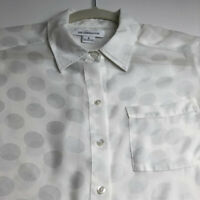 Liz Claiborne Women's Long Sleeve Button Up Shirt Small S Sheer White Polka Dots