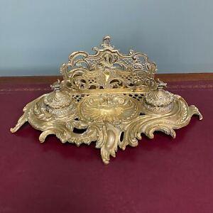Superb Quality Antique Brass Inkwell Letter Holder Desk Set