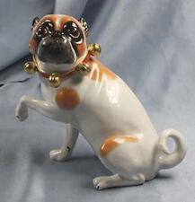 Mops mit Schellen  hund figur gemarkt porzellanfigur pug hundefigur porzellan,so